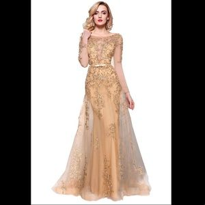 Dresses & Skirts - Long Sleeve Embroidery Beaded Prom Formal Dress